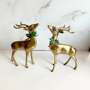 Vintage Brass Reindeer Figures Set of 2 MCM